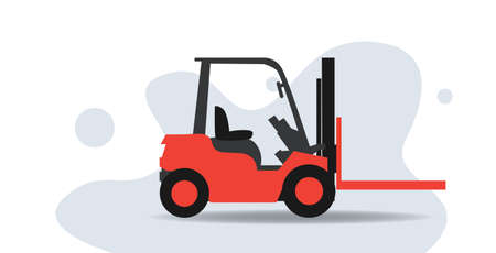 cartoon forklift truck for containers logistic transport concept sketch horizontal vector illustration Illustration