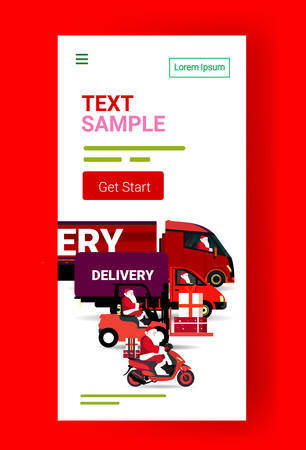 santa claus driving different transportation delivery vehicles for merry christmas happy new year winter holidays celebration cargo transport concept full length vertical copy space vector illustration Illustration