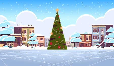 christmas ice rink empty no people snowy city street with decorated fir tree merry christmas happy new year winter holidays concept cityscape background greeting card horizontal vector illustration