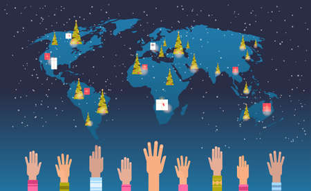 world map with gift present boxes raised up mix race hands merry christmas happy new year holiday celebration concept flat horizontal vector illustration