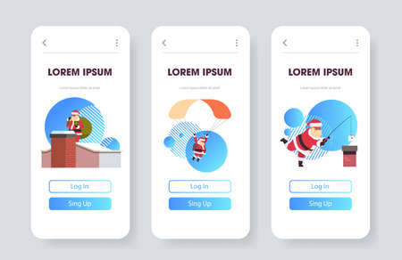 santa claus cards web pages merry christmas happy new year holiday celebration mobile app screen set horizontal full length copy space vector illustration