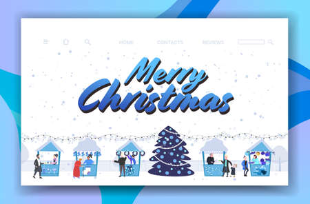 christmas market or holiday outdoor fair with decorated fir tree people walking between stalls merry xmas new year winter holidays celebration concept greeting card horizontal vector illustration
