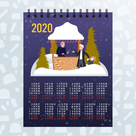father with daughter buying lollipop candy in sweetmeats stall christmas market winter fair concept 2020 moon calendar full length sketch vector illustration Ilustracja