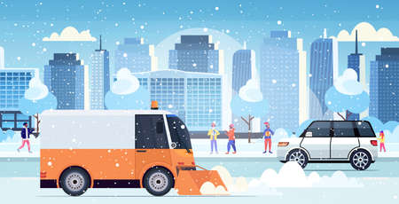 snow plow truck cleaning city road afrer snowfall winter snow removal concept modern cityscape background horizontal vector illustration