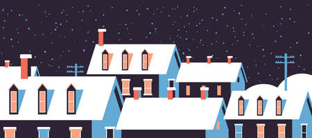 winter houses with snow on roofs night snowy village street merry christmas happy new year greeting card flat horizontal closeup vector illustration