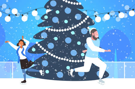mix race couple at ice-skating outdoor rink with decorated fir tree merry christmas new year holidays concept winter landscape background full length horizontal vector illustration