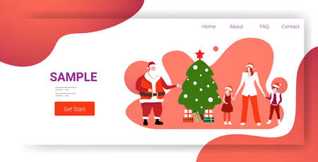 mother and children standing with santa claus near fir tree merry christmas happy new year holiday celebration concept horizontal full length copy space vector illustration