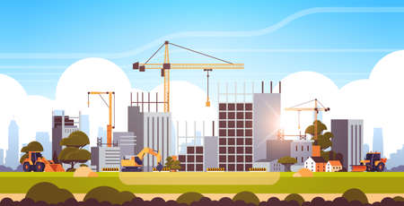 modern construction site with cranes tractor and bulldozer unfinished building exterior sunset background flat horizontal vector illustration