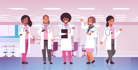 cancer day doctors wearing coats with pink ribbon mix race hospital colleagues team standing together disease awareness and prevention concept flat full length horizontal vector illustration