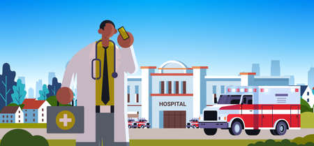 male doctor in white coat with first aid kit talking on mobile phone medicine healthcare concept medical clinic worker with stethoscope modern hospital building exterior portrait horizontal vector illustration Illusztráció