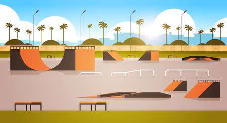 empty public skate board park with various ramps for skateboarding cityscape background flat horizontal vector illustration Illusztráció