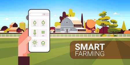 farmer hand holding smartphone monitoring condition controlling agricultural products organization of harvesting smart farming concept farm building landscape background horizontal copy space vector illustration