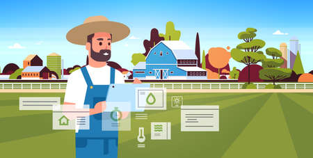 man farmer with tablet monitoring condition controlling agricultural products organization of harvesting smart farming concept farm building landscape background flat horizontal portrait vector illustration