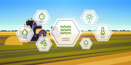tractor plowing land heavy machinery working in field smart farming modern technology organization of harvesting application concept landscape background flat horizontal vector illustration Stock Vector - 133655492