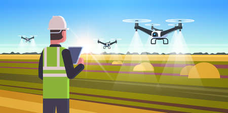 farmer using drone sprayer quadcopter flying to spray fertilizer on field smart farming modern technology organization of harvesting concept landscape background flat horizontal vector illustration