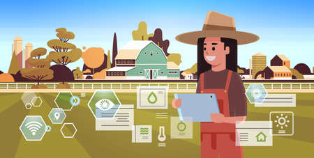 woman farmer with tablet monitoring condition controlling agricultural products organization of harvesting smart farming concept farm building landscape background flat horizontal portrait vector illustration Illustration