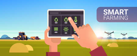farmer hands using tablet controlling tractor and drone sprayer on field smart farming modern technology organization of harvesting application concept landscape background horizontal copy space vector illustration