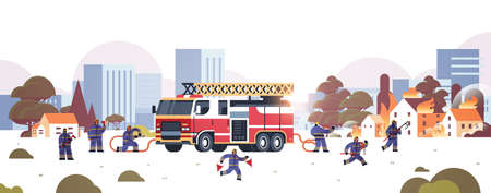 firemen near fire truck getting ready to extinguishing fire firefighters in uniform and helmet firefighting emergency service concept burning houses cityscape background horizontal vector illustration Çizim