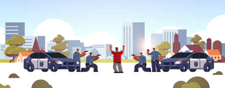 arrested criminal character with raised arms robber caught by police officers theft security authority justice law service concept cityscape background full length horizontal vector illustration Ilustrace