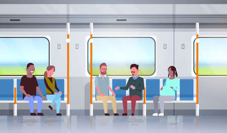 people inside subway metro train discussing during trip mix race passengers sitting in public transport horizontal flat full length vector illustration 写真素材 - 133655547