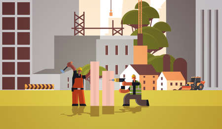 builders couple using drill and hammer mix race workmen carpenters team drilling hole hammering nail in wooden plank building concept construction site background full length horizontal vector illustration