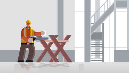 male builder carpenter using hand saw sawing log on sawbuck into lumber busy workman in uniform building concept construction site interior flat full length horizontal vector illustration
