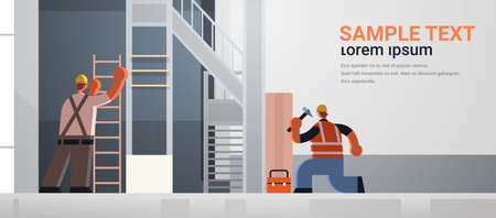 builders couple using hammer and ladder busy workmen team in uniform working together building concept construction site interior rear view flat full length horizontal copy space vector illustration