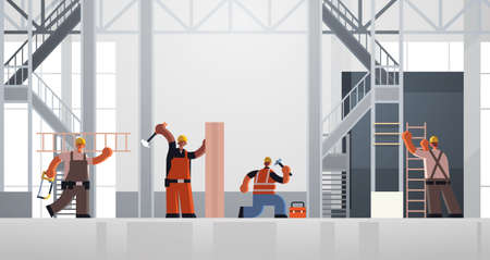 builders using hammer and ladder busy workmen carpenters team in uniform working together building concept construction site interior flat full length horizontal vector illustration