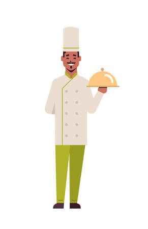 male professional chef cook holding covered platter serving tray african american man restaurant worker in uniform cooking food concept flat full length vertical vector illustration Ilustração