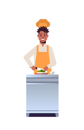 male professional chef cook chopping fresh vegetables on carving board african american man restaurant worker in uniform preparing salad cooking food concept flat full length vertical vector illustration