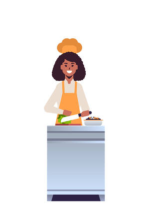 female professional chef cook chopping fresh vegetables on carving board african american woman restaurant worker in uniform preparing salad cooking food concept flat full length vertical vector illustration