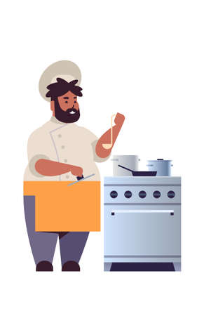 male professional chef cook preparing and tasting dishes african american man restaurant worker in uniform near kitchen stove cooking food concept flat full length vertical vector illustration