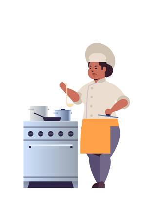female professional chef cook preparing and tasting dishes african american woman restaurant worker in uniform near kitchen stove cooking food concept flat full length vertical vector illustration