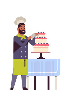 male professional chef pastry cook decorating tasty wedding cream cake african american man restaurant worker in uniform cooking food concept flat full length vertical vector illustration