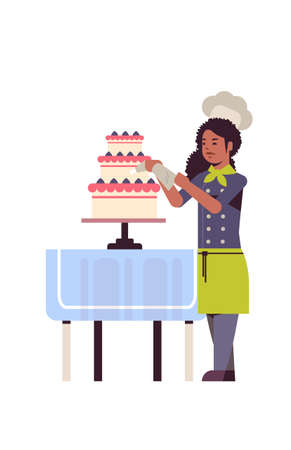 female professional chef pastry cook decorating tasty wedding cream cake african american woman restaurant worker in uniform cooking food concept flat full length vertical vector illustration