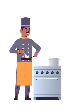 male professional chef using frying pan stirring food african american man restaurant kitchen worker in uniform standing near stove cooking concept flat full length vertical vector illustration
