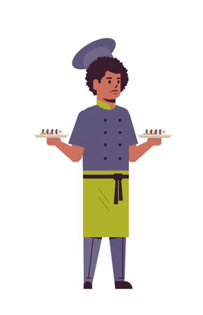 male chef cook holding trays with fresh sushi rolls african american man restaurant kitchen worker in uniform carrying platter with japanese traditional food cooking concept full length vertical vector illustration