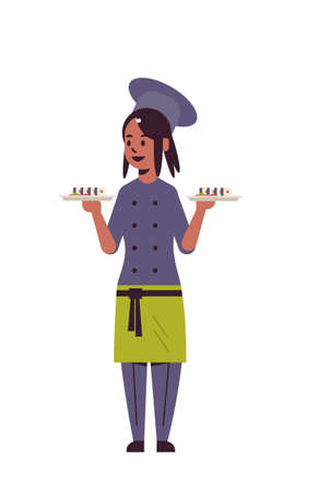 female chef cook holding trays with fresh sushi rolls african american woman restaurant kitchen worker in uniform carrying platter with japanese traditional food cooking concept full length vertical vector illustration