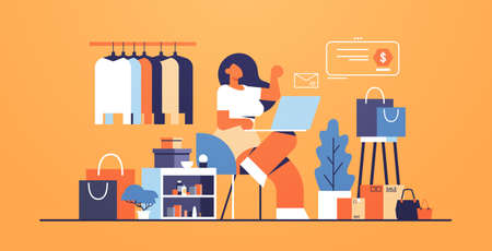 woman with laptop using computer application online shopping concept big fashion shop female clothes boutique interior flat full length horizontal vector illustration