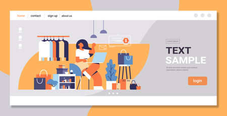 woman with laptop using computer application online shopping concept big fashion shop female clothes boutique interior flat full length copy space vector illustration Ilustrace