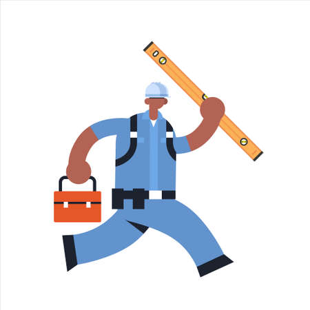 male builder carrying toolbox and carpenter level african american busy workman running pose industrial construction worker in uniform building concept flat full length vector illustration