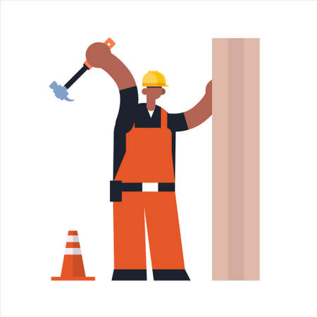 male builder using hammer busy african american workman industrial construction carpenter worker in uniform hammering a nail in wooden plank building concept flat full length vector illustration