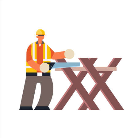 male builder using handsaw sawing log on sawbuck into lumber busy workman industrial construction carpenter worker in uniform building concept flat full length vector illustration