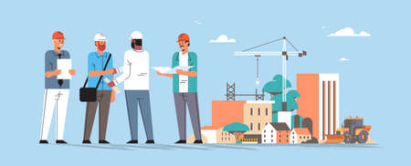builders team shaking hands during meeting mix race engineers workers in helmet discussing new project on blueprint handshake agreement concept construction site background full length horizontal vector illustration Çizim