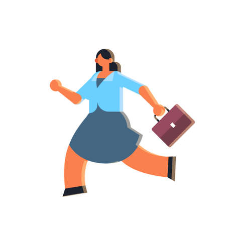 businesswoman holding suitcase overworked business woman running with briefcase deadline concept female office worker in formal wear flat full length vector illustration