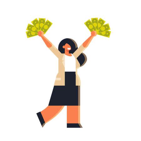 Emocionada empresaria sosteniendo dinero en efectivo en dólares levantados mujer de negocios rica pose de pie concepto de éxito financiero mujer oficinista en ropa formal plana ilustración vectorial de longitud completa