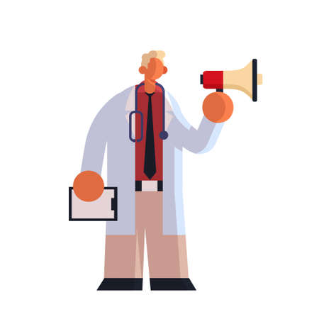 male doctor in white coat holding patient card and loudspeaker making announcement medicine healthcare concept hospital medical clinic worker standing pose full length white background flat vector illustration Illusztráció
