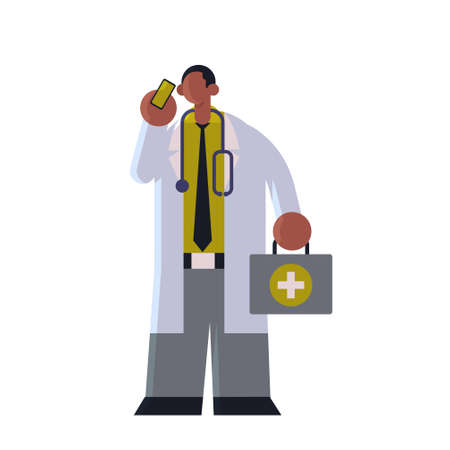 male doctor in white coat with first aid kit talking on mobile phone medicine healthcare concept african american medical clinic worker with stethoscope standing pose full length flat vector illustration Illusztráció