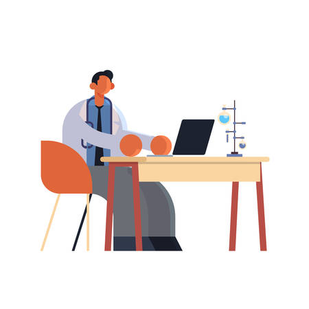 male doctor using laptop man researcher sitting at workplace desk with test tubes medicine healthcare concept hospital medical laboratory worker in white coat full length flat vector illustration