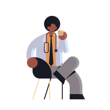 male doctor in white coat having coffee break medicine healthcare concept hospital medical clinic african american worker with stethoscope sitting on armchair full length flat vector illustration